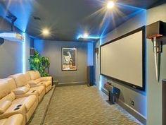 "Contemporary Home Theater with Carpet, Da-lite - cinema contour 193"" home theater projector screen, High ceiling #hometheaterprojectorscreen #homecinemaprojector"