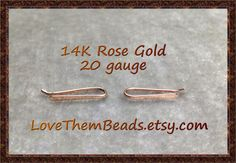 Tiny 20 gauge 14K Rose Gold Bar Stud Earrings, Ear Crawler, Ear Climber, Tiny Staple, Minimalist, Simple Earring, Solid 14K pink Real Gold - pinned by pin4etsy.com