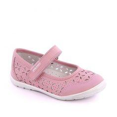 Pantofi roz pentru fetite. Realizati din piele naturala perfoarata. Marca Pablosky.