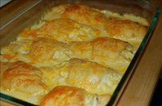 Ingredients: -Makes 6 servings -2 cans of crescent rolls - 1 can of Cream of Chicken Soup - 2 boneless chicken breast or thighs  DIRECTIONS oBoil the chicken then shred  oRoll out each individual crescent  oPlace a tbsp of shredded chicken in the center and roll  oBake for about 5 mins until they are starting to turn golden brown.  oPour Cream of Chicken over the top and bake for an additional 10 mins.  oTop with cheddar cheese and bake for 10 more mins or melted to your liking.  oEnjoy!!
