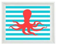 Octopus Beach Nautical Sea Creature Art