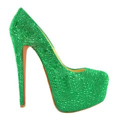 Green isn't my color...and the heel is super high but YES I want these!