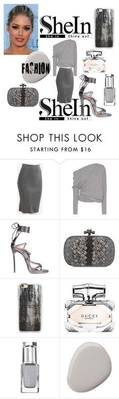 """SheIn: Win! Grey Split Dual Knit Pencil Skirt"" by mandimwpink ❤ liked on Polyvore featuring Tom Ford, Dsquared2, Bottega Veneta, Casetify and Gucci"