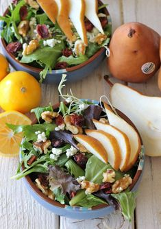 Winter Pear Salad with Meyer Lemon Vinaigrette. **Yum!!** I used gorganzola instead of goat cheese and it was perfect