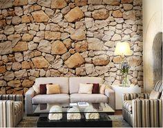 Fotobehang stenen muur keien