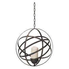 Add a unique accent to your space with the Foreside Home and Garden Hanging Orb Votive Holder . It's crafted from metal with a distressed black finish. Votive Candle Holders, Votive Candles, Candle Chandelier, Old World Style, Home And Garden, Ceiling Lights, Design, Home Decor, Covered Porches