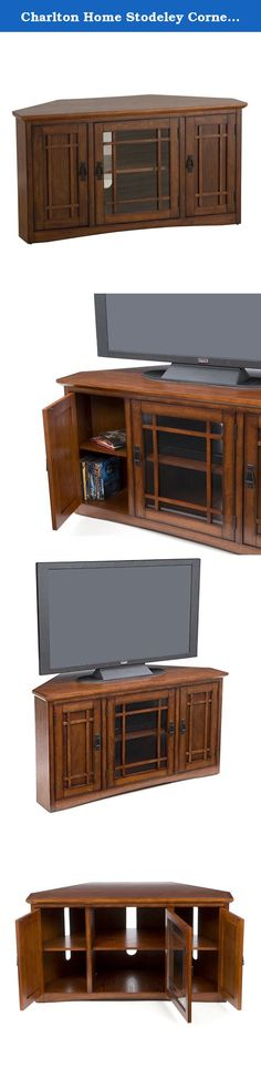 """Charlton Home Stodeley Corner TV Stand. Make the most of your living room or den layout with this space-saving corner TV stand, featuring a distressed brown cherry finish and 2 side cabinets. Product Details TV Size Accommodated: 45"""" Frame Material: Wood Media Storage: Yes Overall: 25"""" H x 46.75"""" W x 20"""" D Shelf: 18"""" H x 17.5"""" W x 12.5"""" D Cabinet Interior: 20.5"""" H x 11"""" W x 20"""" D Back Panel: 20.5"""" W Overall Product Weight: 105 lbs."""