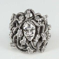 MANSONDAVID Biker Ring 925 Sterling Silver Ring Medusa w 22 Snake Evil Eye #MANSONDAVID