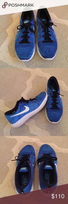 Nike lunarepic flyknit low - Mens Cool blue mens running shoes. Has orange accent threading. Very comfortable. Perfect for running or casual wear. Wear and some discoloration on soles from regular use. NO TRADES Nike Shoes Sneakers