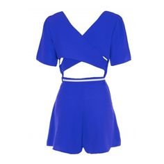 Royal Blue Crepe Cross Back Belted Playsuit ($7.56) ❤ liked on Polyvore featuring jumpsuits, rompers, blue rompers, summer romper, summer rompers, blue romper and playsuit romper