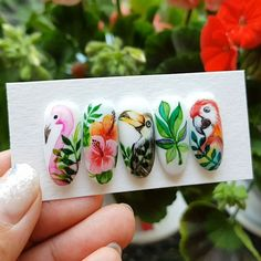 Make an original manicure for Valentine's Day - My Nails Diy Acrylic Nails, Gel Nail Art, Acrylic Nail Designs, Tropical Flower Nails, Tropical Nail Art, Tropical Nail Designs, Nail Art Wheel, Flamingo Nails, Water Color Nails