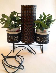 Mid Century Black Metal Table Lamp with Two by myvintagemodernhome, $75.00