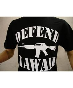 Men's Defend Hawaii Basic T-Shirt - AR-15 Logo; Color Options: White/Black, Black/White, Black/Red, Military Green/White. $26.00 Available online at www.islandsnow.com and at the Island Snow Hawaii Kailua Beach Center location.