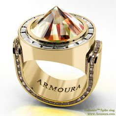 Spike ring with Zultanite™ stone, brown and clear diamonds from www.Armoura.com