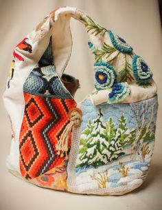 Going to keep my eye out for old blankets, needlepoint, etc. to use for bags. These are cool.