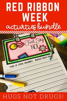 These Red Ribbon Week activities are a perfect supplement to your lesson plans as you teach your students the importance of keeping a drug free body during the month of October.  Click here to see what other teachers are saying about this bundle of no prep printables! #redribbonweek #drugfree #justsaynotodrugs #hugsnotdrugs
