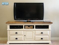 paint an old dresser and remove top drawers for storage for a TV stand