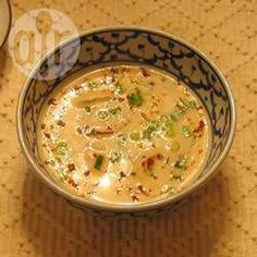 Tom Ka Gai - Thai-inspired coconut milk soup with chicken and bok choy Thai Recipes, Asian Recipes, Soup Recipes, Cooking Recipes, Recipies, Healthy Recipes, Coconut Curry Soup, Tasty Thai, Soup Kitchen