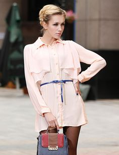 Elegant Pink Dacron Long Sleeves Womens Dress