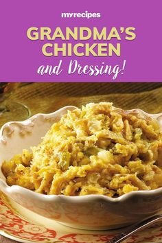 Plan a home-style dinner like grandma used to make with only 30 minutes of prep work for this chicken and dressing recipe. You'll come home to a house with smells reminiscent of Sunday suppers with the family.#friendsgiving #friendsgivingrecipes #thanksgiving #recipes #myrecipes