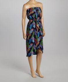 Love this Black & Purple Feather Strapless Tulip Dress by Karlie on #zulily! #zulilyfinds