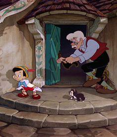 Pinocchio, Geppetto and Figaro Disney Pixar, Walt Disney, Pinocchio Disney, Disney Films, Disney Animation, Disney Magic, Disney Art, Disney Characters, Drawing Cartoon Faces
