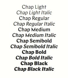 Chap is a high contrast sans serif type family | Schick Toikka