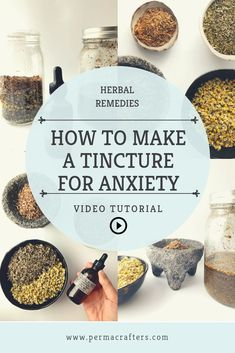 Learn how to make a tincture for anxiety with medicinal plants from your indoor apothecary. Chamomile, lemon balm, Holy Basil, and cinnamon are some of the best healing herbs for anxiety. To learn abo Cold Home Remedies, Natural Health Remedies, Herbal Remedies, Home Remedies For Anxiety, Healing Herbs, Natural Healing, Natural Oil, Natural Beauty, Holistic Healing
