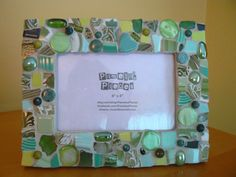 Greens and More Greens Mosaic Photo Frame by PamelasPieces on Etsy, $29.99
