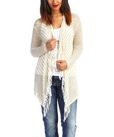 Look at this Peridot Ivory Stripe Fringe Open Cardigan on #zulily today!