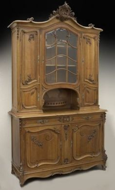 Tall Country French Carved Walnut Buffet