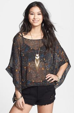 Love Squared Draped Print Chiffon Top (Juniors) available at #Nordstrom