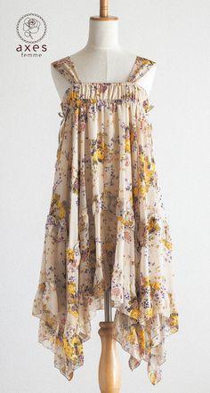 AXES FEMME Japan Jumper skirt  Lolita Sweet Gyaru dress One piece Chiffon Kawaii #AXESFEMME