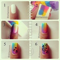DIY Rainbow Leopard Nail Art Tutorial nails diy craft nail art summer nails nail trends diy nails diy nail art easy craft diy fashion manicures diy nail tutorial easy craft ideas teen crafts home manicures Love Nails, How To Do Nails, Pretty Nails, Nail Art Diy, Diy Nails, Diy Art, Nails Decoradas, Sponge Nails, Diy Ombre Nails Without Sponge