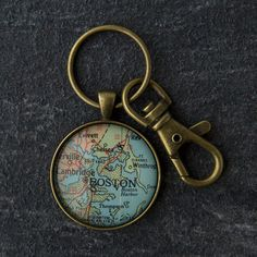 Vintage Map Pendant Keychain Boston MA Boston Map by ReddySetArt