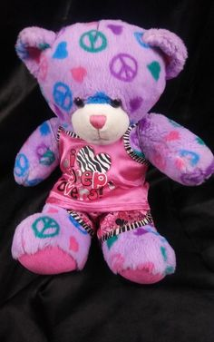 0b74f208530 Build a Bear Peace Sign Light Purple Bear Plush 15