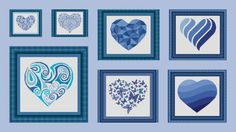 BLU hearts  set - Counted cross stitch patterns /grilles point de croix ,Cross Stitch PDF, Instant download , free shipping