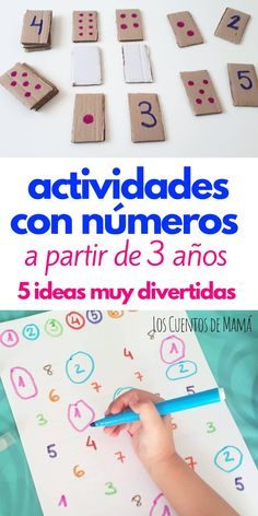 How to learn numbers by playing for kids from 3 years old. Easy and simple ideas to prepare para Peques Preschool Learning Activities, Infant Activities, Educational Activities, Kids Learning, Preschool Journals, Preschool Writing, Learning Numbers, Math For Kids, Kids Education