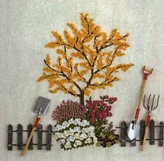 Embroidered Garden Tools.
