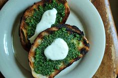 Grilled Bread with Thyme Pesto and Preserved Lemon Cream by fiveandspice via food52 #Bread #Pesto #food52 # fiveandspice