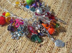 RAINBOW SKULLS Day of the Dead Mexicana Vivid Charm Style Necklace ooak
