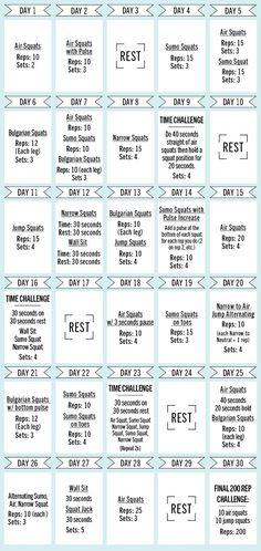 Glamour 30 Day Squat Challenge