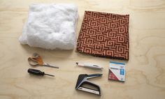 Materials for this DIY kitchen seat upholstery project include Arrow's TacMate T50X staple gun, SLD24 staple lifter, ¼-inch T50 staples, screwdriver, scissors, batting, and non-stretch fabric. Follow Arrow on Pinterest for more great tips! www.arrowfastener.com