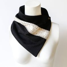 Holiday Gifts Black and Ecru Lace Trim Scarf Cowl Scarflette by Felinus on Etsy Accessories