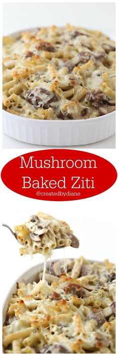 Mushroom Baked Ziti Recipe from @createdbydiane Delicious baked pasta casserole with mushrooms in a red wine sauce