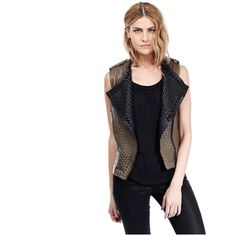 Erin Gilet khaki/black - Leather Vest (12.255 NOK) ❤ liked on Polyvore featuring outerwear, vests, collarless leather vest, leather gilet, black studded vest, genuine leather vest and studded leather vest