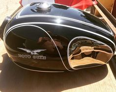 Stew Berry's tank finally ready to ship! Playing catch up with some delinquent paintwork! I think the reflection is awesome! S1000r, Moto Guzzi, Stew, Berry, Reflection, Helmet, Bike, Awesome, Instagram