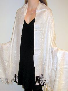 White Silk Pashmina Supreme Embroidered Shawl perfect wedding bridal shawl with delicate embroidery that is elegant and affordable.