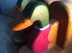 Vintage Solid Wood Hand Crafted BOOKENDS by Phil Markham - MAINE
