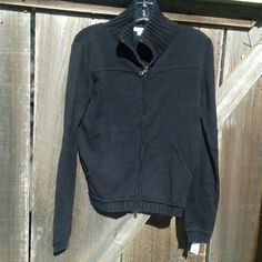 Black sweater jacket Sz L, EUC no flaws. 100% cotton. True to size. The zipper has dual zippers, so one can zip up and the other down,  if you like. A fitted L, or could be a nice, relaxed fit on M. Puma Sweaters